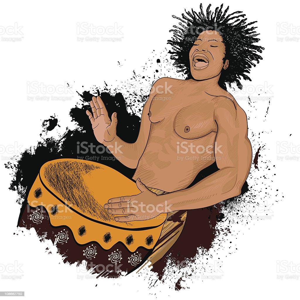african drummer vector art illustration