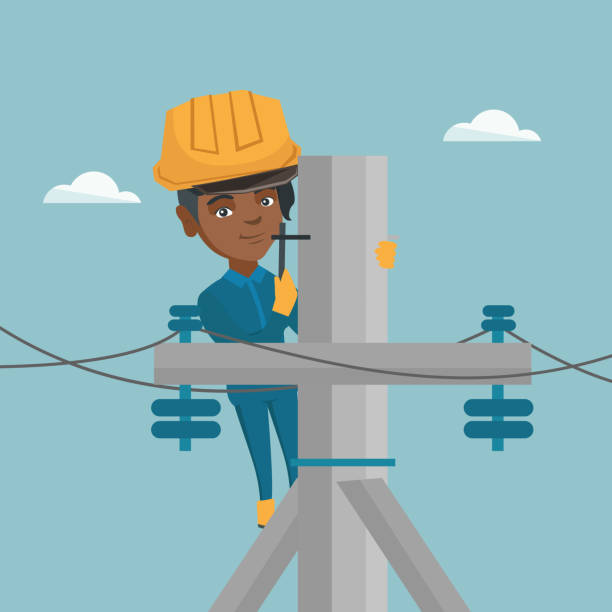 African electrician working on electric power pole Young african-american electrician in hard hat working on electric power pole. Female electrician repairing an electric power pole. Vector cartoon illustration. Square layout. football lineman stock illustrations