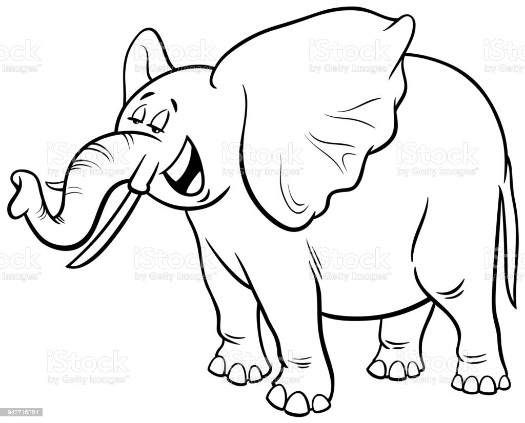 African Elephant Cartoon Character Coloring Book Stock Vector Art ...