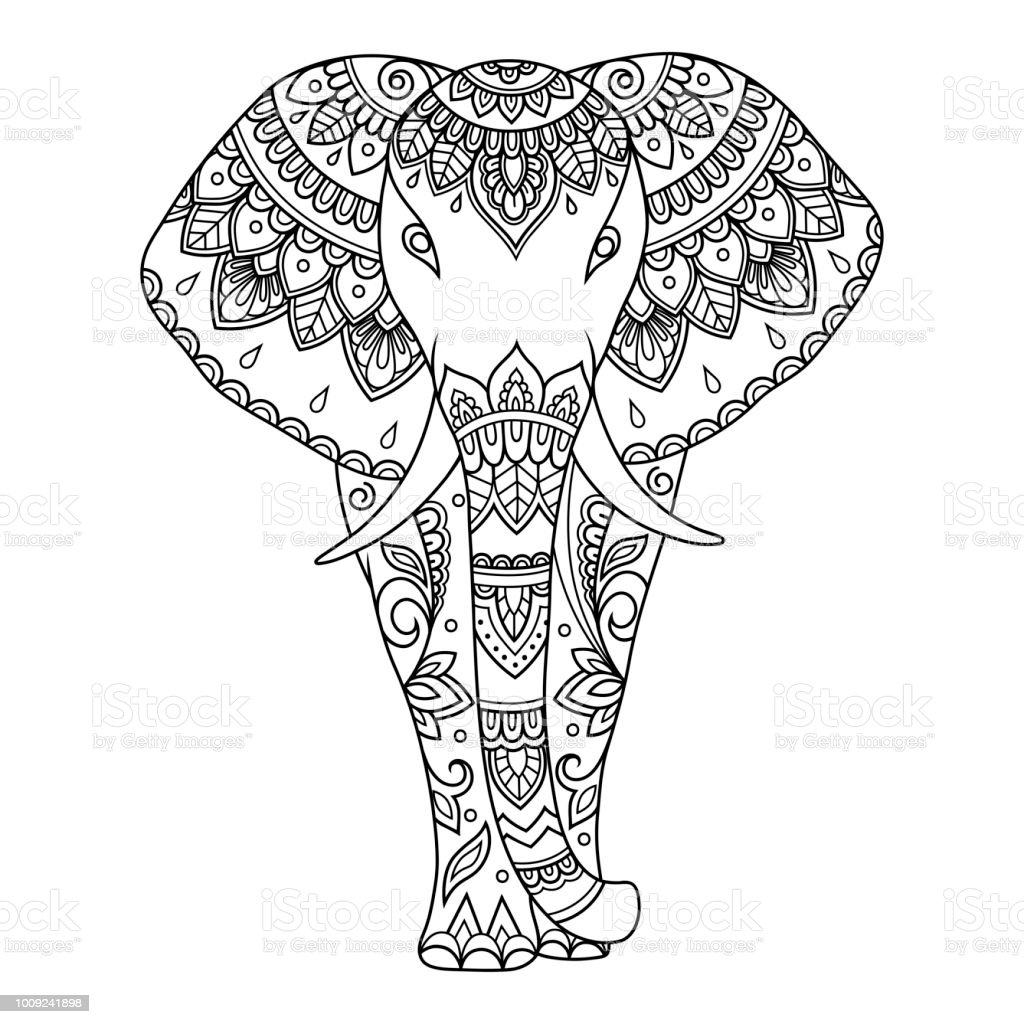 African Elephant Decorated With Indian Ethnic Floral Vintage Pattern ...