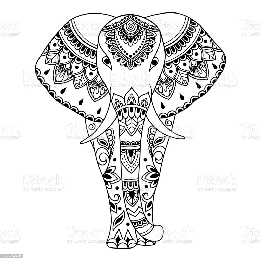 African Elephant Decorated With Indian Ethnic Floral Vintage Pattern Hand Drawn Decorative Animal In Doodle