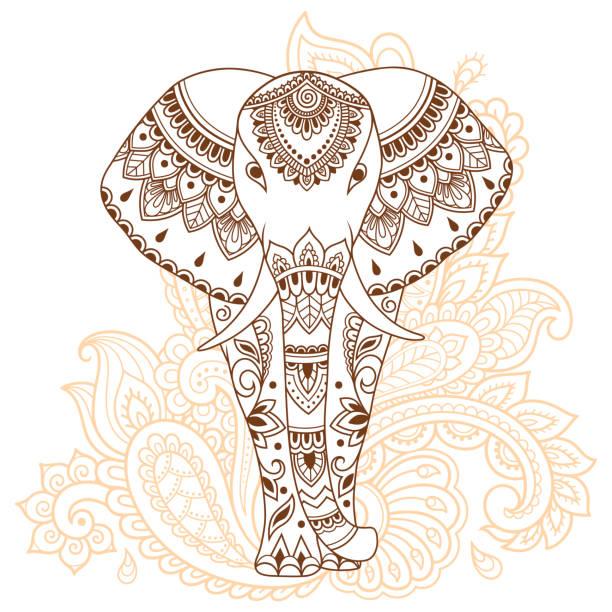 afrikanischer elefant mit indischen ethnischen vintage blumenmuster verziert. hand gezeichnet dekorative tier im doodle-stil. stilisierte mehndi ornament tattoo, print, abdeckung, buch und färbung seite. - elefantenkunst stock-grafiken, -clipart, -cartoons und -symbole