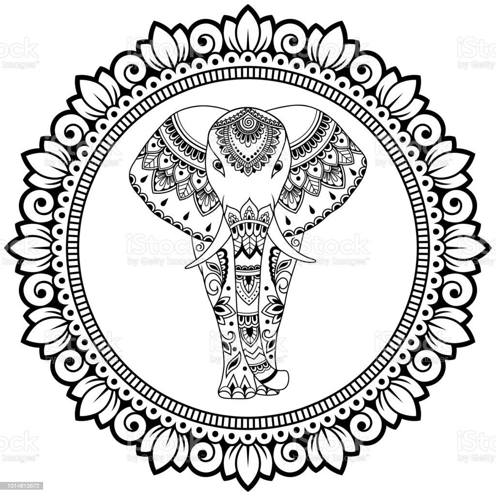 Kleurplaten Mandala Olifant.Afrikaanse Olifant In Mandala Versierd Met Indiase Etnische Vintage