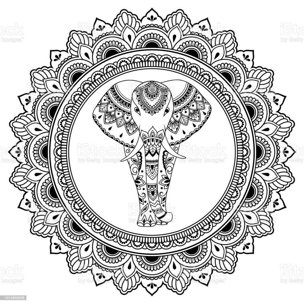 Ilustración De Elefante Africano En El Mandala Decoración De India