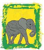 African Elephant On Painted Green Yellow Framed Background