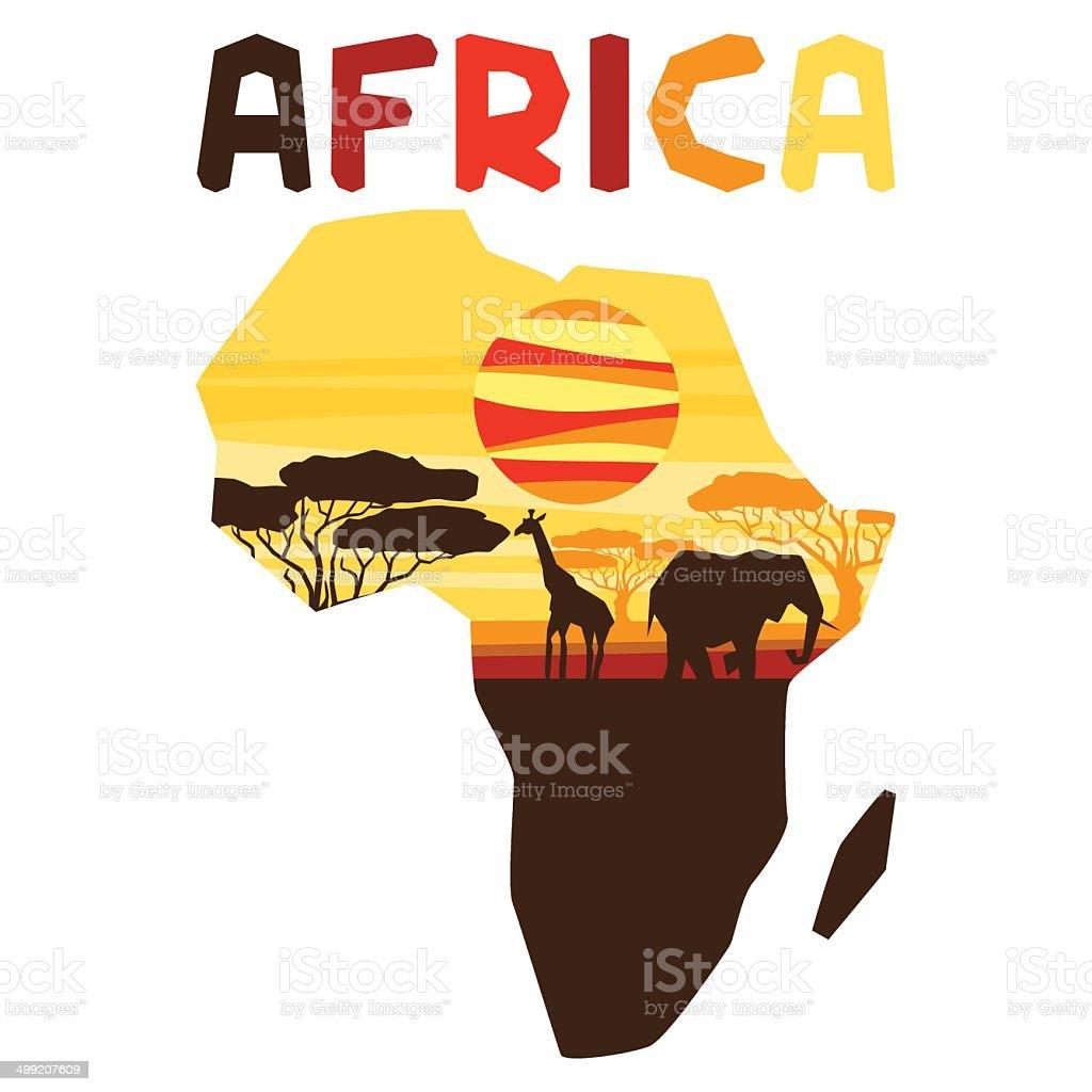 African origine etnica con illustrazione di mappa. - illustrazione arte vettoriale
