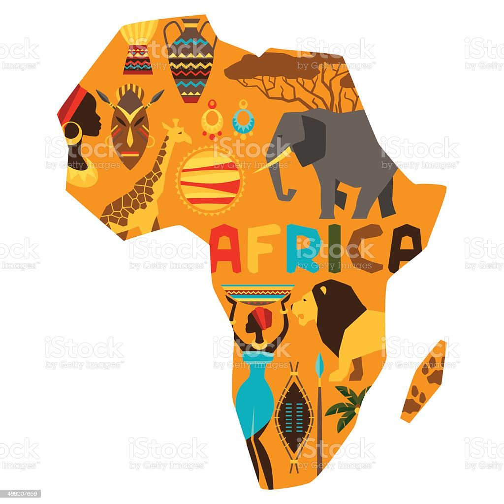 African ethnic background with illustration of map. vector art illustration