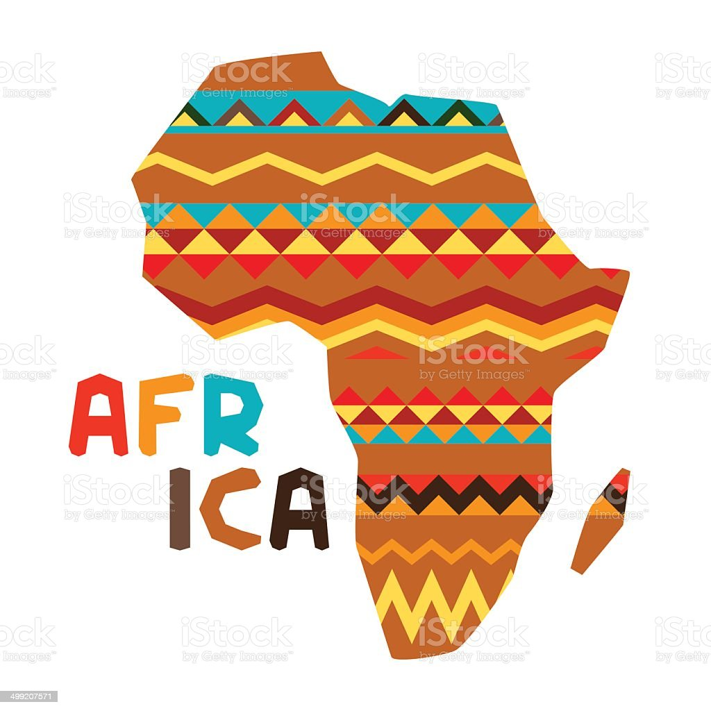 African ethnic background with illustration of ornate map. royalty-free stock vector art