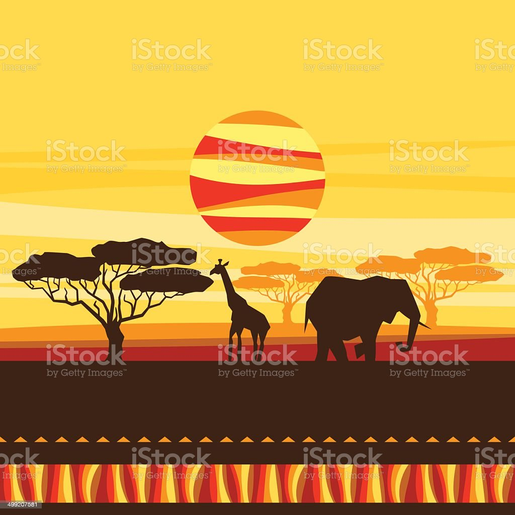 African ethnic background with illustration of savanna. vector art illustration