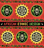 African ethnic background. Seamless border with African mask and abstract geometric ornament in red, green, and yellow colors.