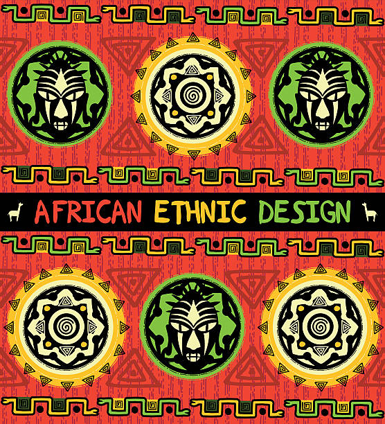 African ethnic  design with a mask and  abstract geometric ornament vector art illustration