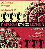 African ethnic background. The border with abstract geometric ornament and dancing people in red, beige, and black colors.