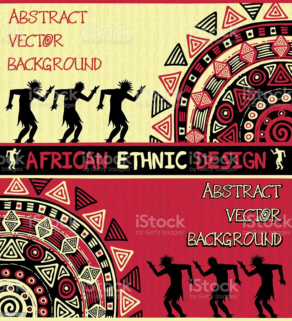 African ethnic  design with abstract geometric ornament and dancing people vector art illustration
