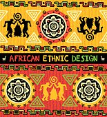 African ethnic  seamless background with abstract geometric ornament and dancing people near bonfire in yellow, red, and black colors.