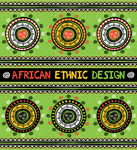 African ethnic  design with abstract geometric ornament vector art illustration