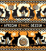 African ethnic  design with elephants and palm trees