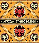 African ethnic background. Seamless border with African masks in yellow, red, and black colors.