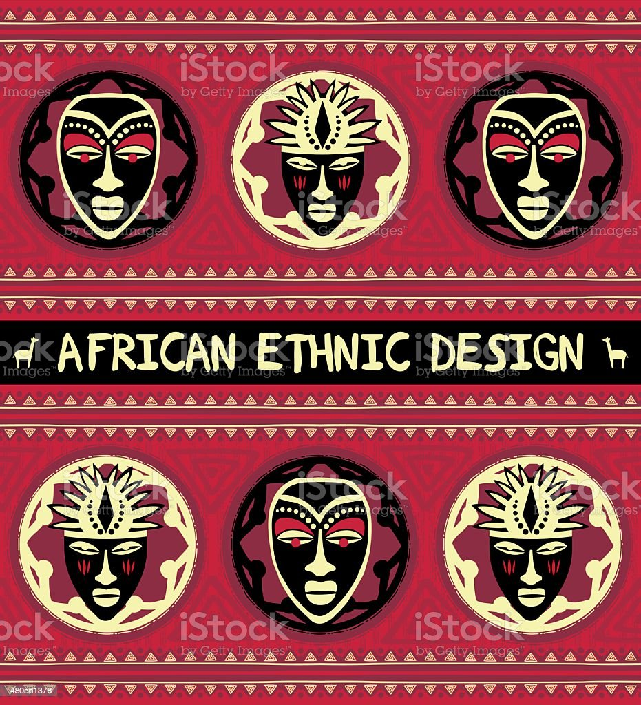 African ethnic  design with masks vector art illustration