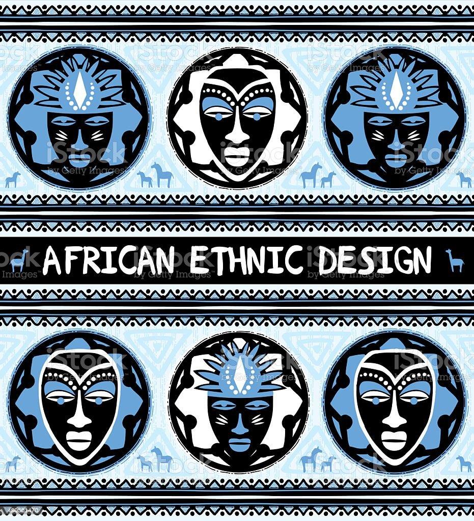 African ethnic  design with masks vector art illustration