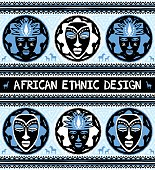 African ethnic  design with masks