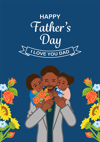 African ethnic father and two children - Father's day design template, Vertical