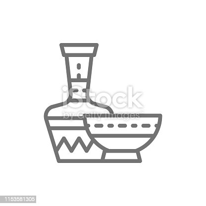 Vector african ethnic dishes, bowl, jug line icon. Symbol and sign illustration design. Isolated on white background