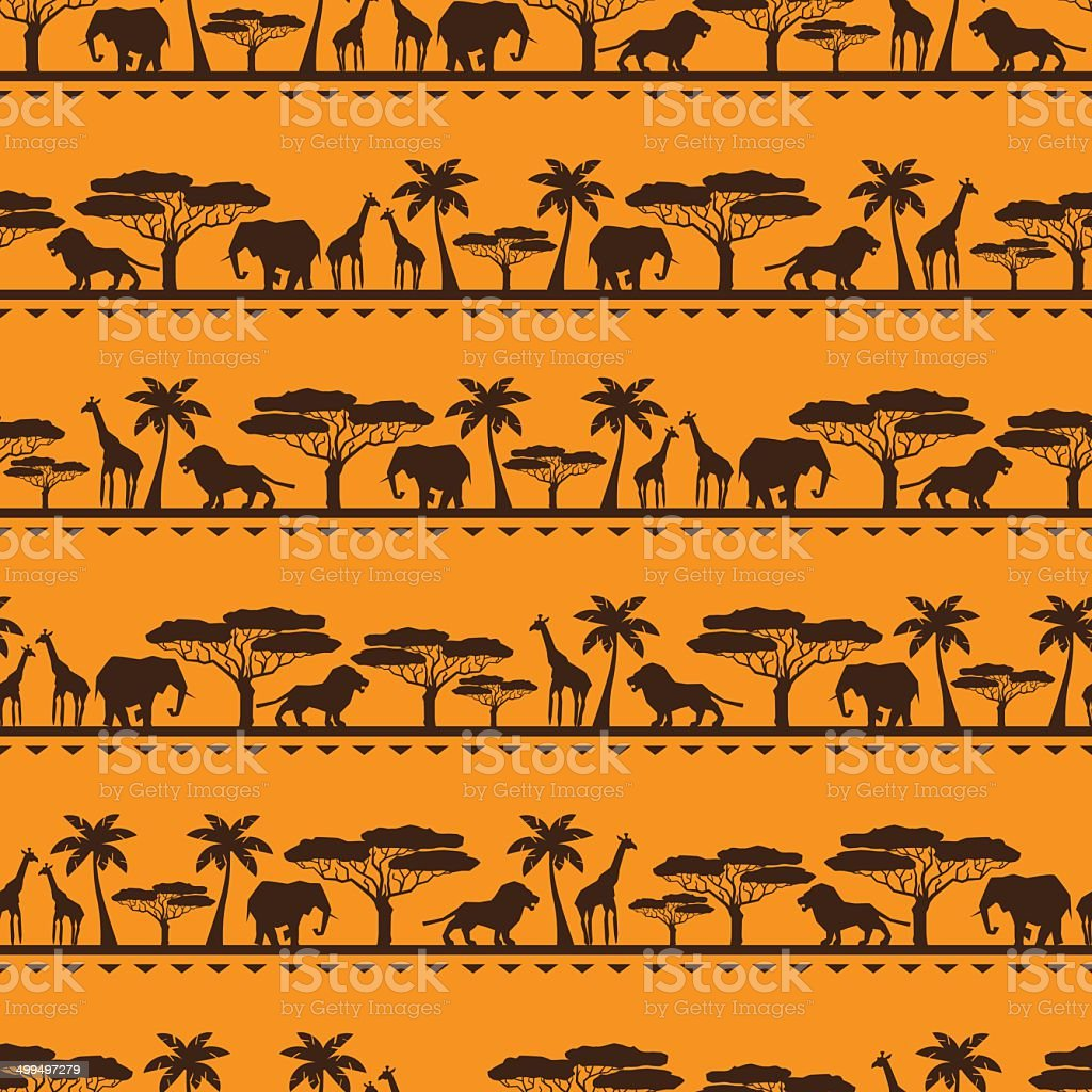 African ethnic seamless pattern in flat style. vector art illustration