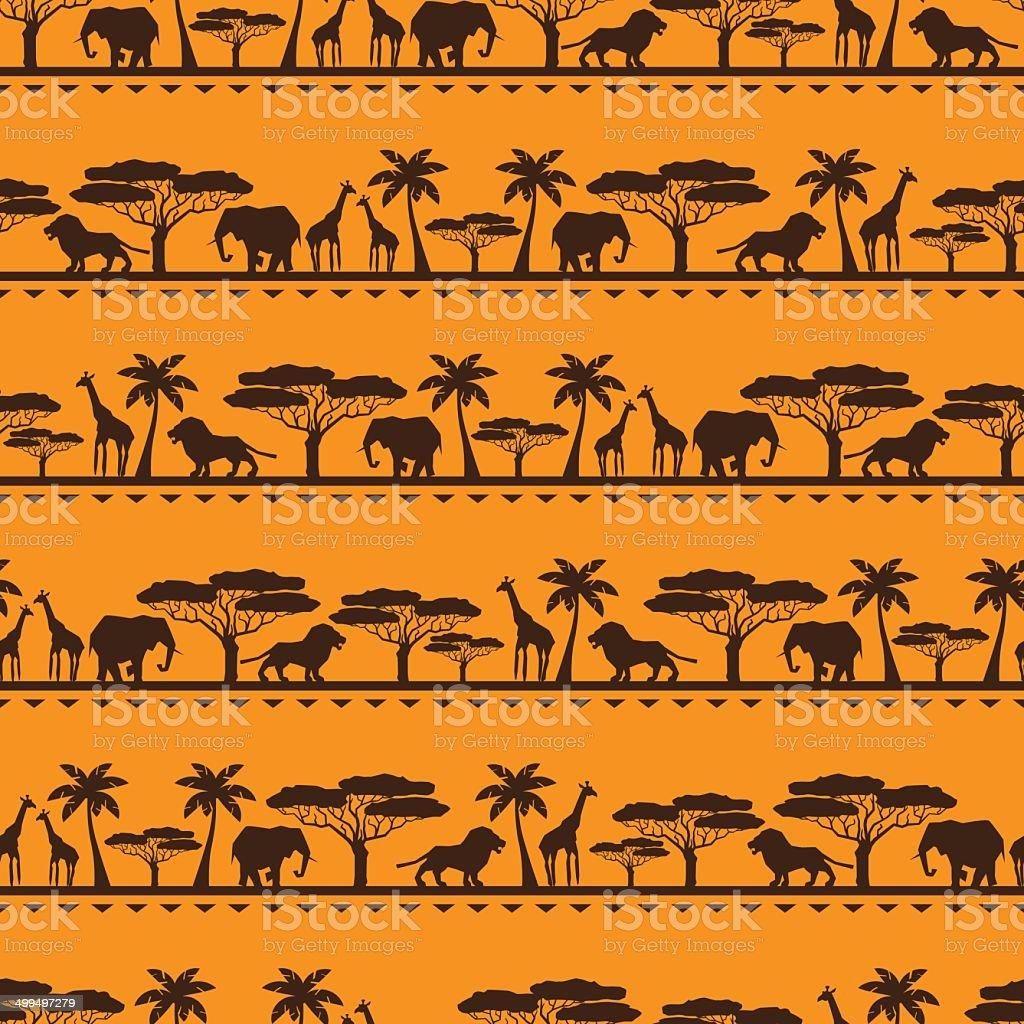 African etnico seamless pattern in stile piatto. - illustrazione arte vettoriale