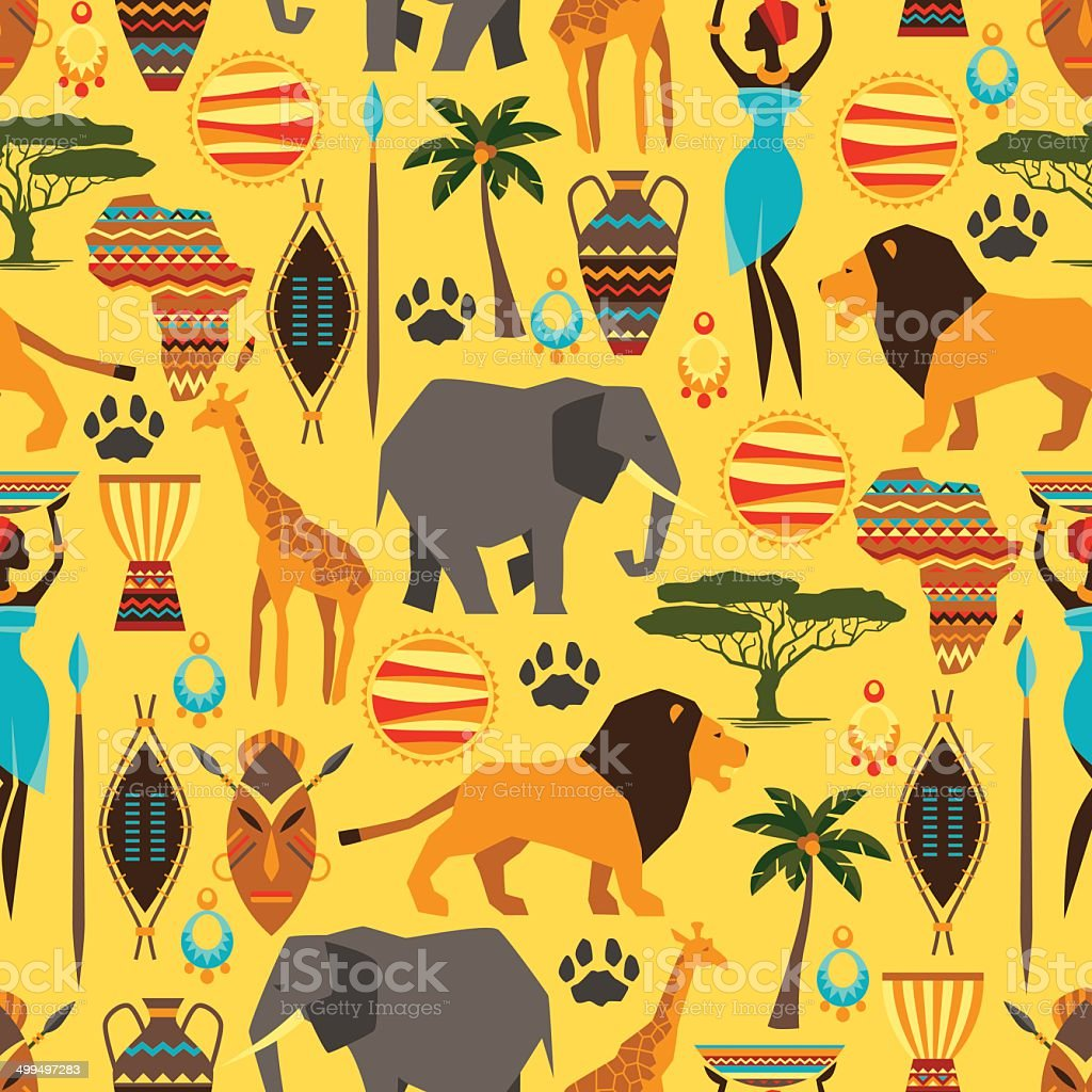 African ethnic seamless pattern with stylized icons. vector art illustration