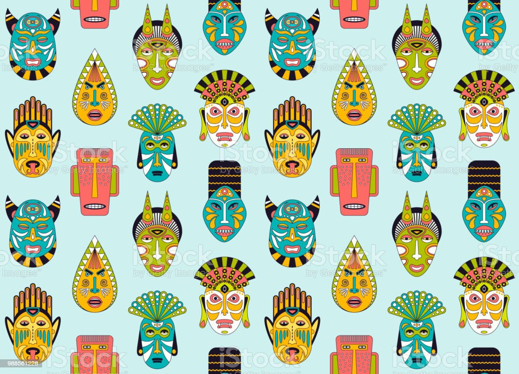 African ethnic tribal masks seamless pattern in flat style. Vector background of ritual masks. vector art illustration
