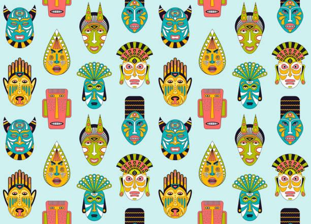 ilustrações de stock, clip art, desenhos animados e ícones de african ethnic tribal masks seamless pattern in flat style. vector background of ritual masks. - afro latino mask
