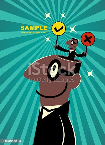 Businessman Characters Vector art illustration. African Ethnicity businessman (politician) from giant man's open head holding the Right (correct) and Wrong (mistake) sign.