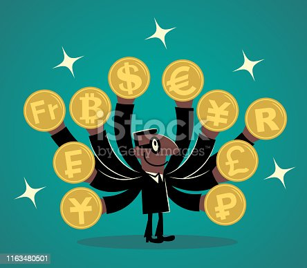 Businessman Characters Vector art illustration Full Length. African Ethnicity businessman with lots of hands and Various currency coins.