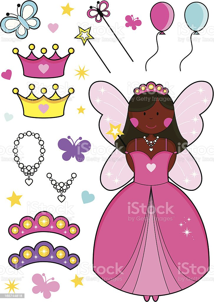 African Fairy Princess with Balloons, Tiaras, Crowns, Wands and Necklaces. vector art illustration