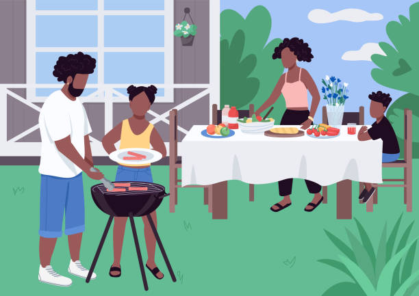 african family barbeque flat color vector illustration - family gatherings stock illustrations