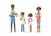 African family cooking - cartoon people characters isolated illustration