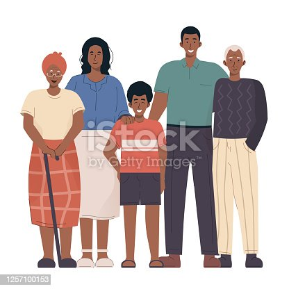African family portrait. Grandparents, parents and children. Black family in flat cartoon illustration