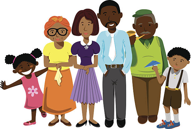 african family - old man illustration pictures stock illustrations, clip art, cartoons, & icons