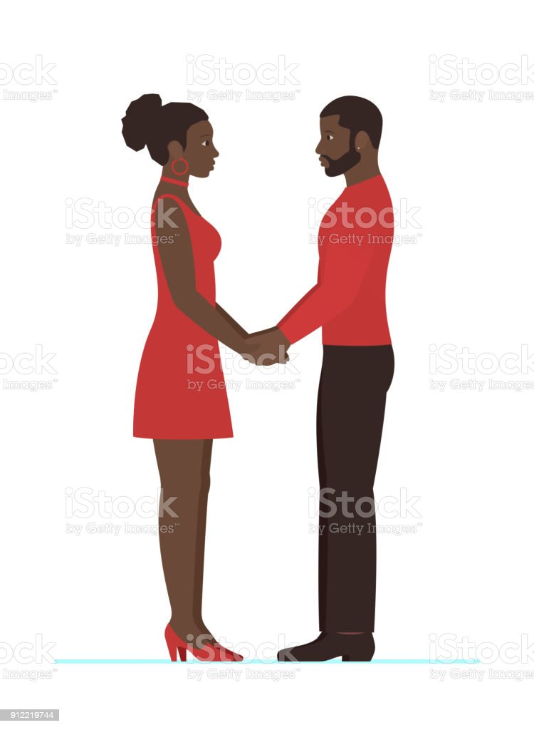 African Female And African Male Couple In Love Holding Hands And
