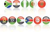 flag glass balls of top ten* African economies (*Sudan is broken into Sudan and South Sudan)