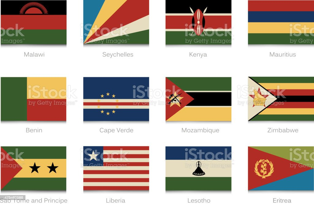 African flags with vintage colors part 4 vector art illustration
