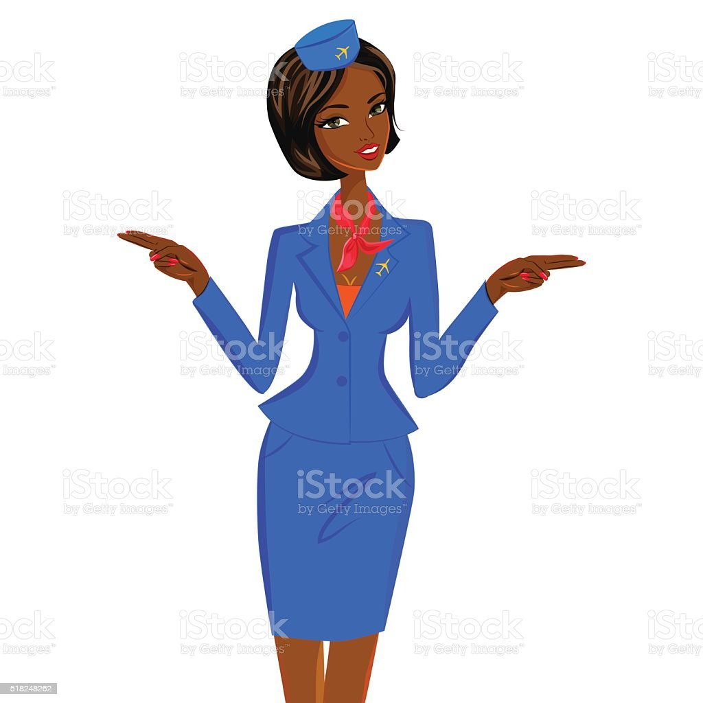 African Flight Attendant Showing Emergency Exits on Plane vector art illustration