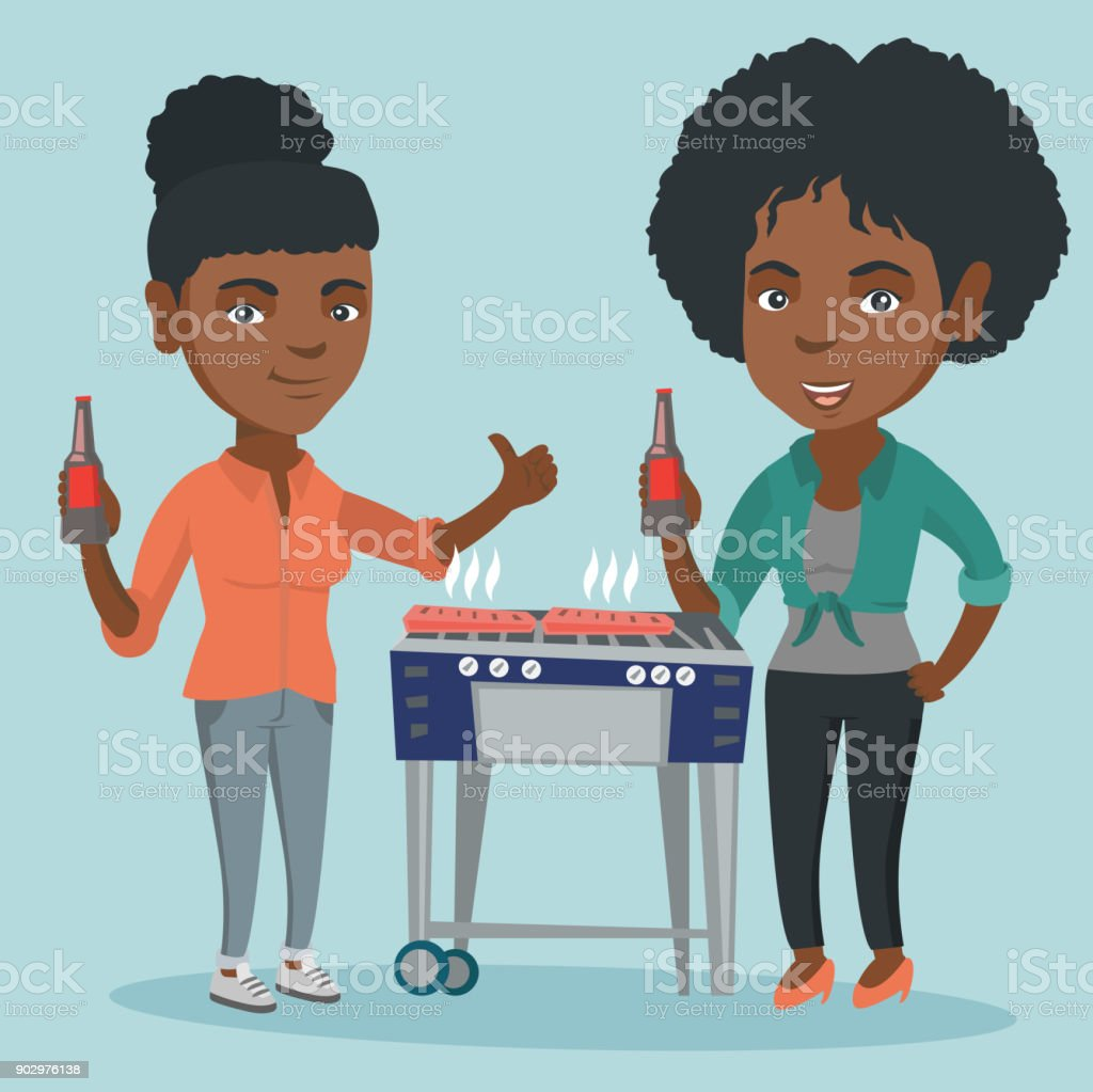 African friends having fun at barbecue party vector art illustration