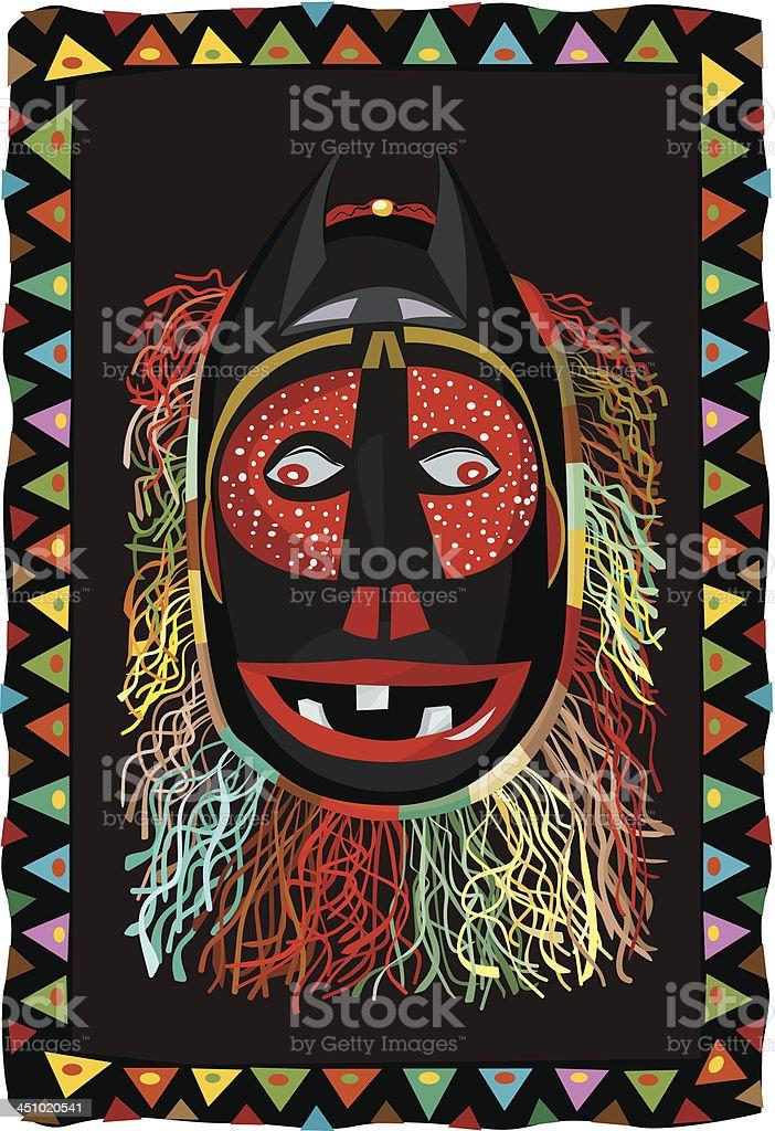 African fringed mask vector art illustration