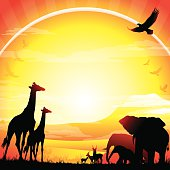 African Giraffes, Elephants and Antelopes silhouettes safari against mt Kilimanjaro in hot day. The Size of illustration is 200x200 mm. Eps 10. Square orientation. This file contains transparency effects, gradient fills.