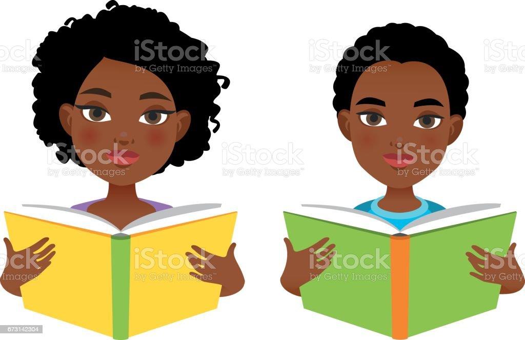 African girl and boy reading books vector art illustration
