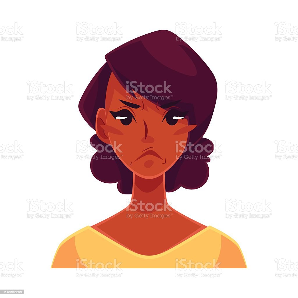 African girl face, angry facial expression