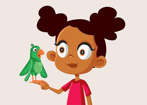 African Girl Holding a Little Parrot Vector Illustration