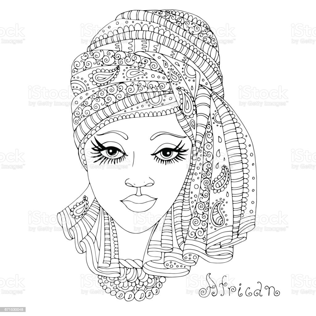 African girl in a scarf drape with ornament on her  head vector art illustration