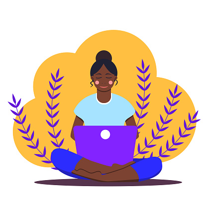 African girl sitting with laptop in lotus position. Young woman working on the notebook, studying, browsing internet, chatting, blogging. Online education or freelance. Stay home. Social distancing